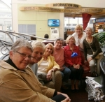 Waiting for arrivals at the Dayton Airport: Pat (Curry) Fleet, Peg (Phillips) Anderson, Paula (Dimitroula) Luke, Judi Sc